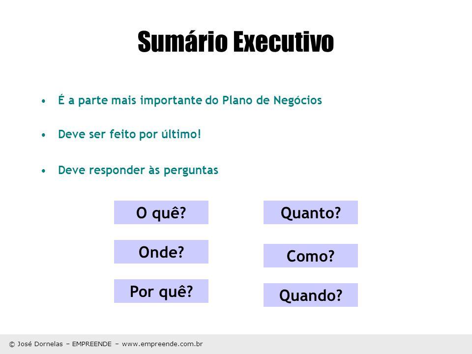 © José Dornelas – EMPREENDE – www.empreende.com.br O quê? Como? Quanto? Onde? Quando? Por quê? Sumário Executivo É a parte mais importante do Plano de