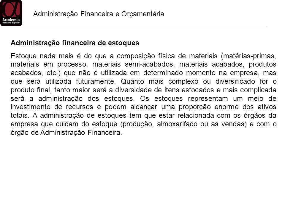 Administração Financeira e Orçamentária Administração financeira de estoques Estoque nada mais é do que a composição física de materiais (matérias-pri