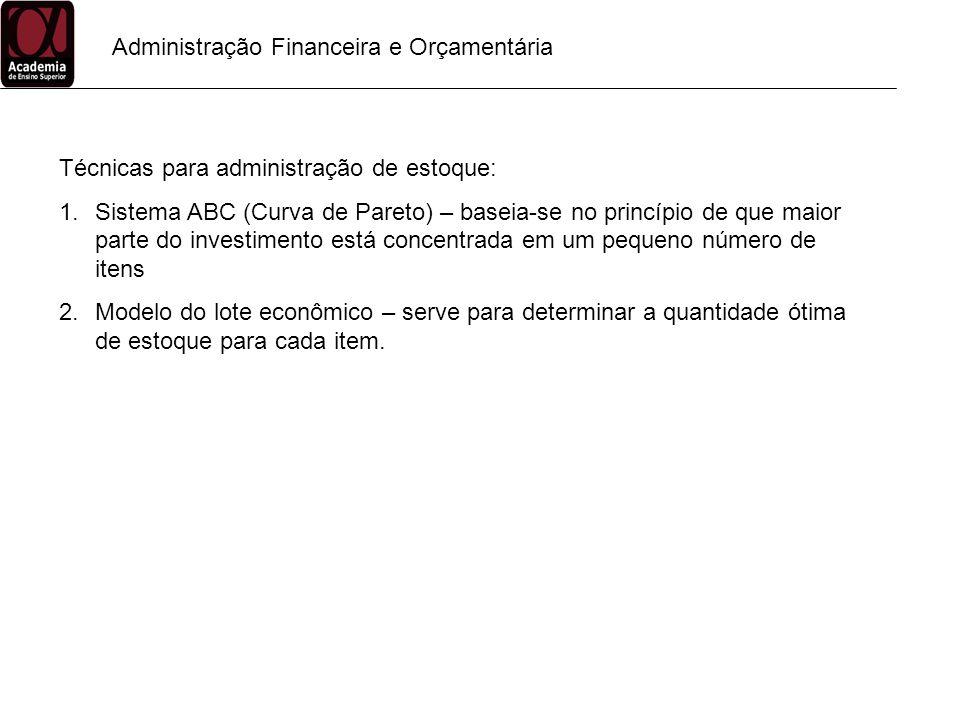 Administração Financeira e Orçamentária Técnicas para administração de estoque: 1.Sistema ABC (Curva de Pareto) – baseia-se no princípio de que maior