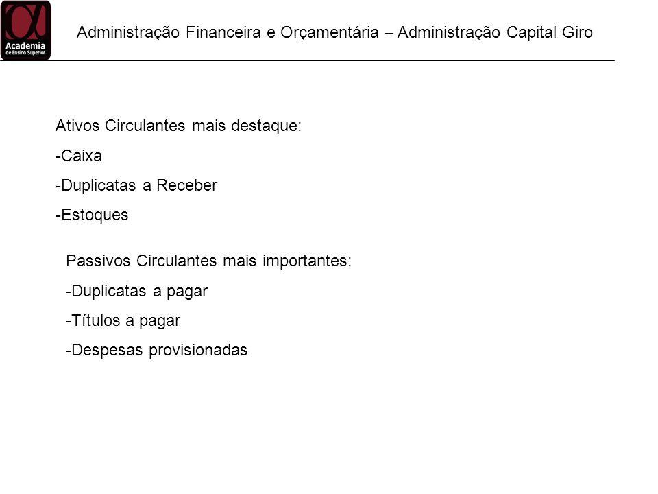 Administração Financeira e Orçamentária – Administração Capital Giro Ativos Circulantes mais destaque: -Caixa -Duplicatas a Receber -Estoques Passivos