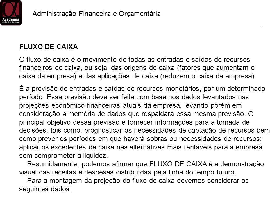 Administração Financeira e Orçamentária FLUXO DE CAIXA O fluxo de caixa é o movimento de todas as entradas e saídas de recursos financeiros do caixa,