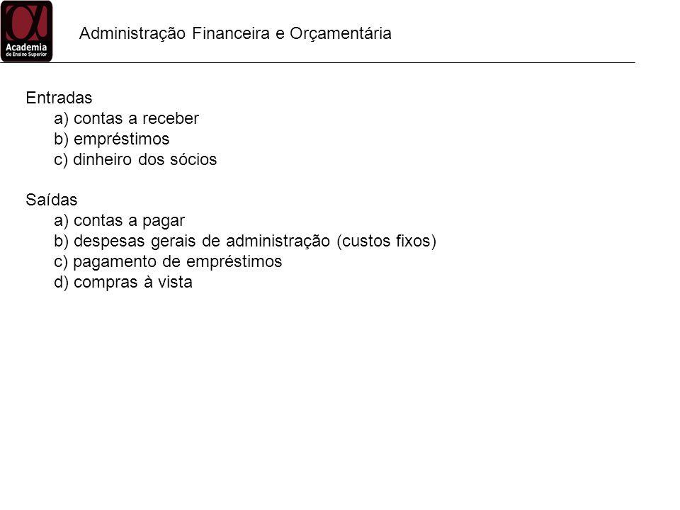 Administração Financeira e Orçamentária Entradas a) contas a receber b) empréstimos c) dinheiro dos sócios Saídas a) contas a pagar b) despesas gerais