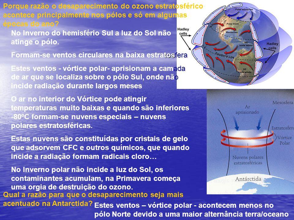 Qual a razão para que o desaparecimento seja mais acentuado na Antarctida? Porque razão o desaparecimento do ozono estratosférico acontece principalme