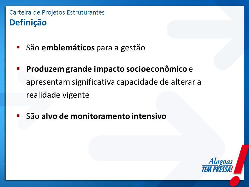 Carteira de Projetos Estruturantes Definição São emblemáticos para a gestão Produzem grande impacto socioeconômico e apresentam significativa capacida