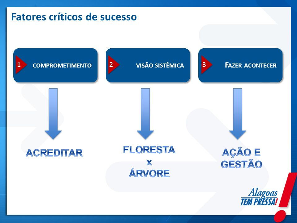 Fatores críticos de sucesso COMPROMETIMENTOVISÃO SISTÊMICA F AZER ACONTECER 1 1 2 2 3 3