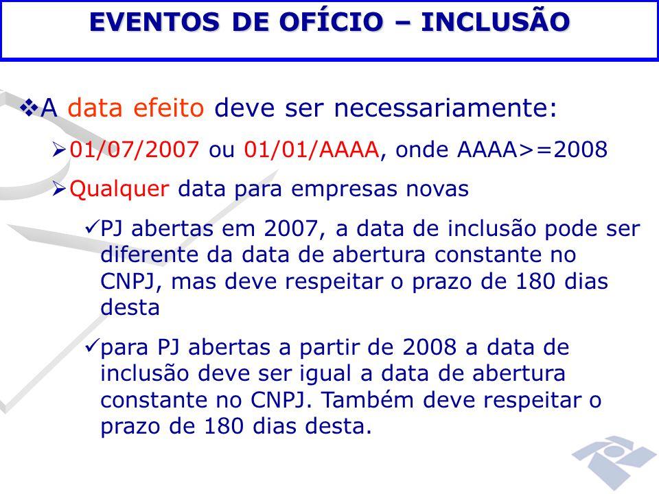 A data efeito deve ser necessariamente: 01/07/2007 ou 01/01/AAAA, onde AAAA>=2008 Qualquer data para empresas novas PJ abertas em 2007, a data de incl