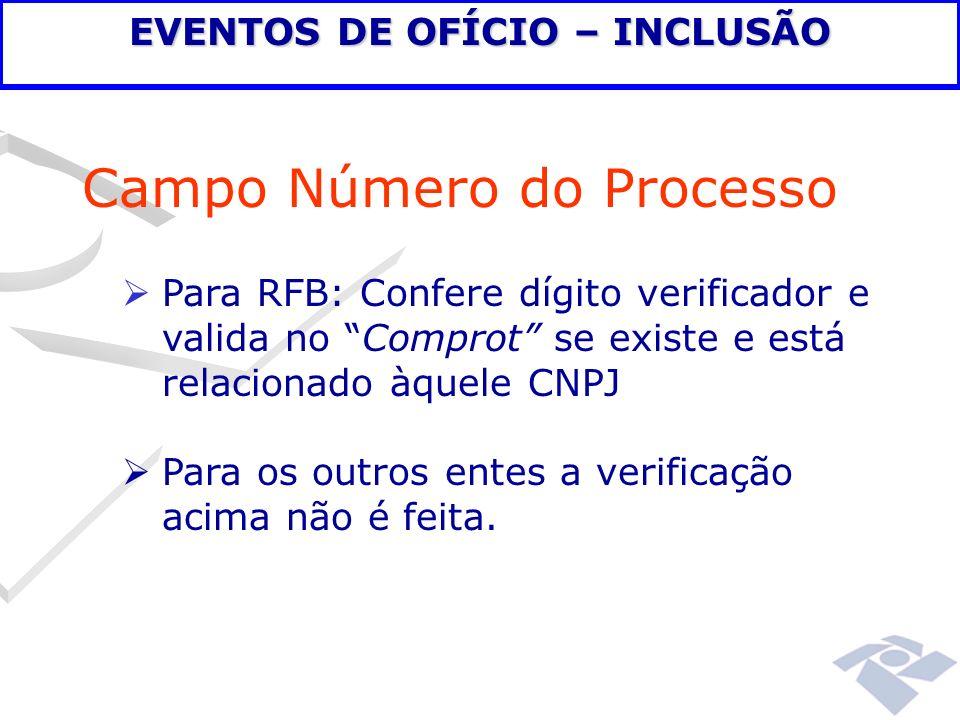 Campo Número do Processo Para RFB: Confere dígito verificador e valida no Comprot se existe e está relacionado àquele CNPJ Para os outros entes a veri