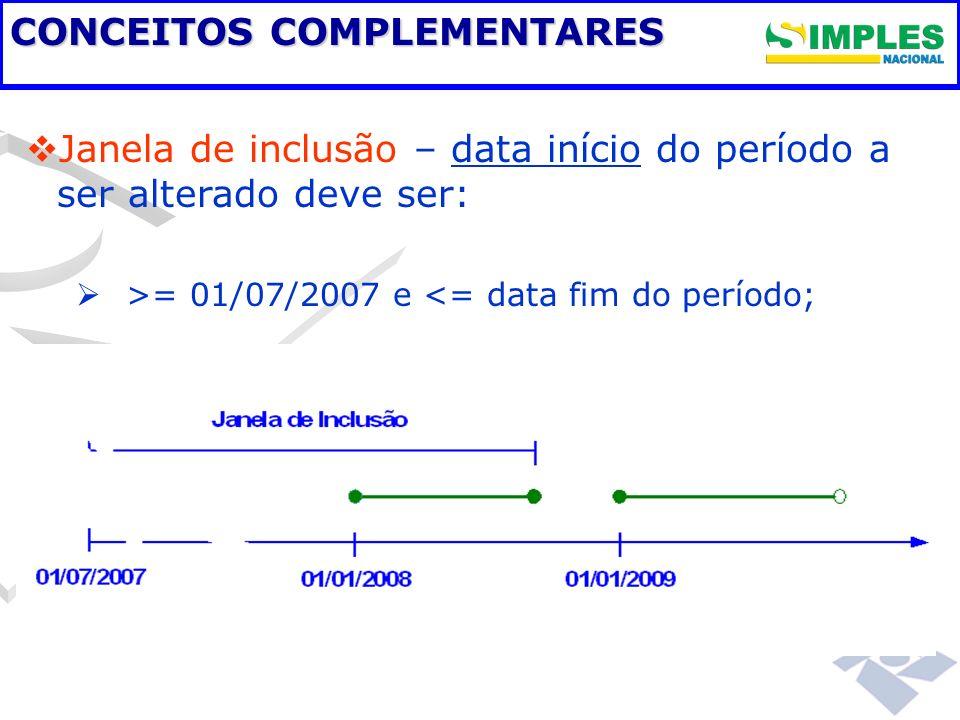 CONCEITOS COMPLEMENTARES Janela de inclusão – data início do período a ser alterado deve ser: >= 01/07/2007 e <= data fim do período;