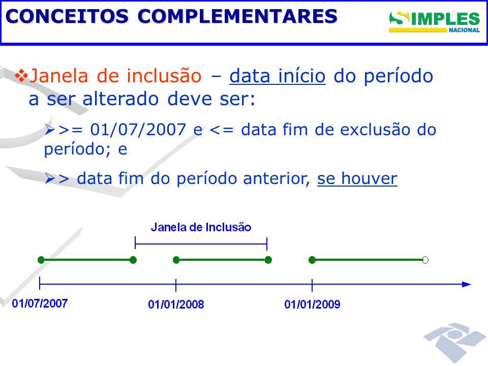 CONCEITOS COMPLEMENTARES Janela de inclusão – data início do período a ser alterado deve ser: >= 01/07/2007 e <= data fim de exclusão do período; e >