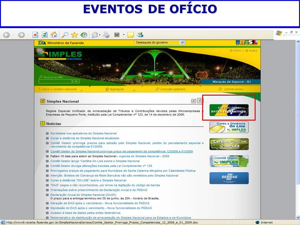 EVENTOS DE OFÍCIO