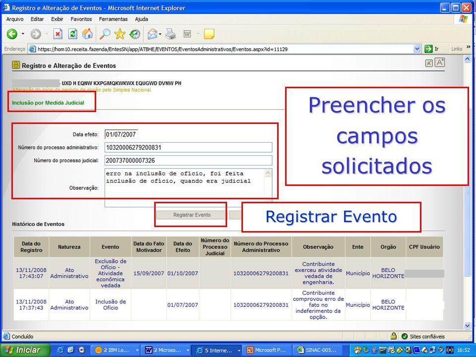 Preencher os campos solicitados Registrar Evento