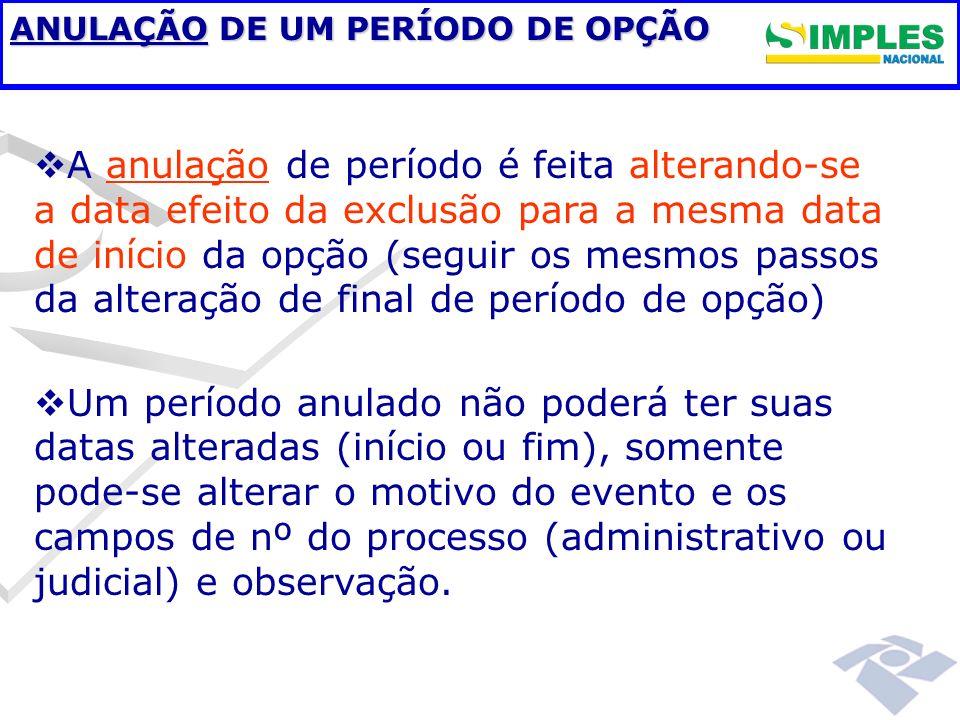 ANULAÇÃO DE UM PERÍODO DE OPÇÃO A anulação de período é feita alterando-se a data efeito da exclusão para a mesma data de início da opção (seguir os m