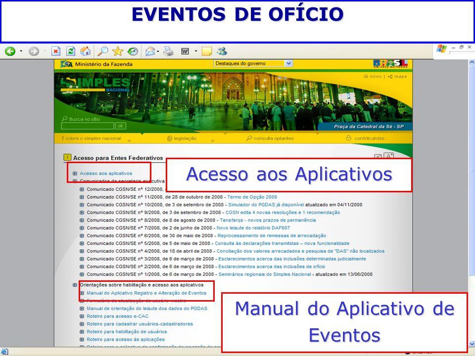 Acesso aos Aplicativos Manual do Aplicativo de Eventos