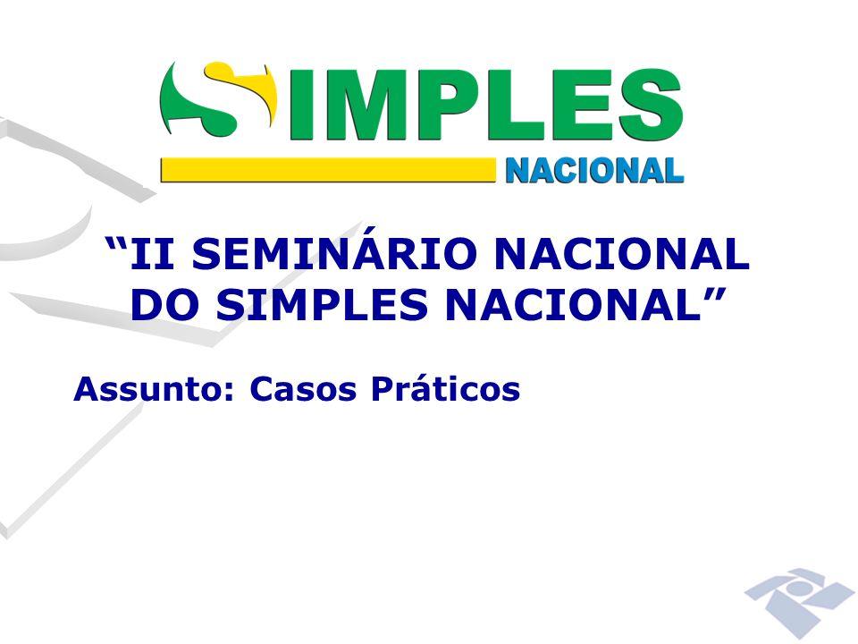 II SEMINÁRIO NACIONAL DO SIMPLES NACIONAL Assunto: Casos Práticos