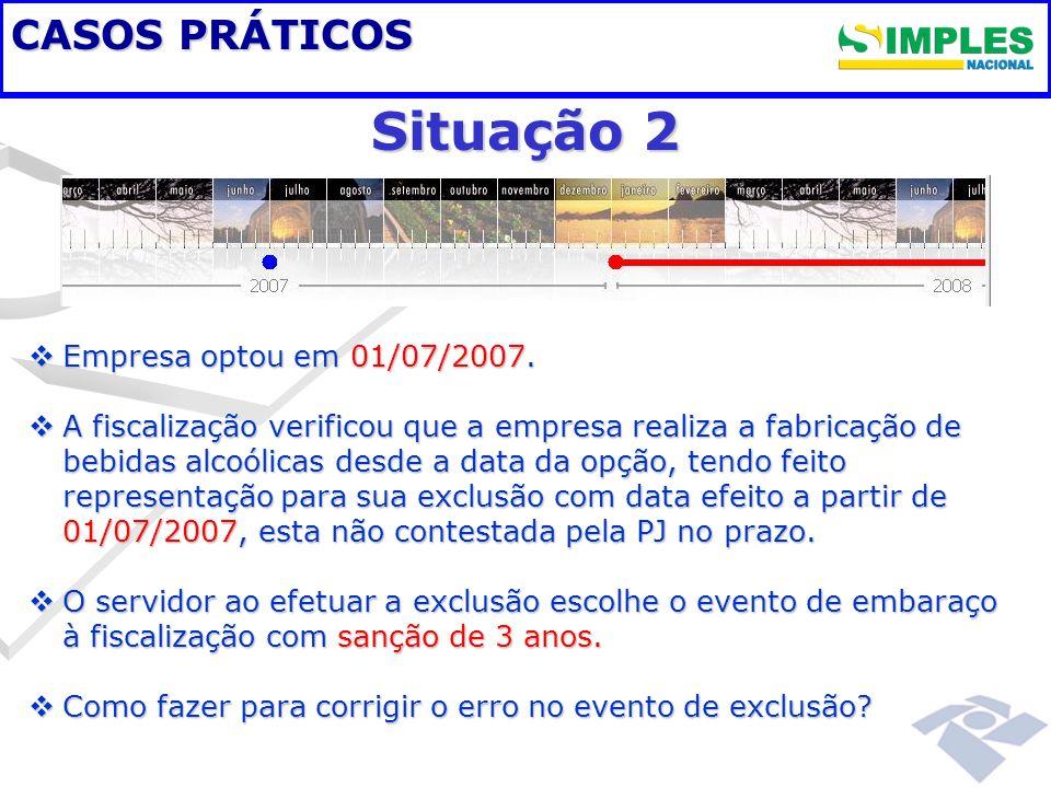 CASOS PRÁTICOS Situação 2 Empresa optou em 01/07/2007. Empresa optou em 01/07/2007. A fiscalização verificou que a empresa realiza a fabricação de beb