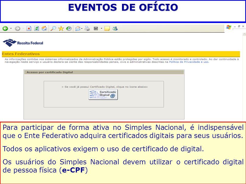 EVENTOS DE OFÍCIO Para participar de forma ativa no Simples Nacional, é indispensável que o Ente Federativo adquira certificados digitais para seus us