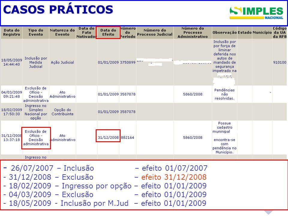 CASOS PRÁTICOS - 26/07/2007 – Inclusão – efeito 01/07/2007 - - 31/12/2008 – Exclusão – efeito 31/12/2008 - - 18/02/2009 – Ingresso por opção – efeito
