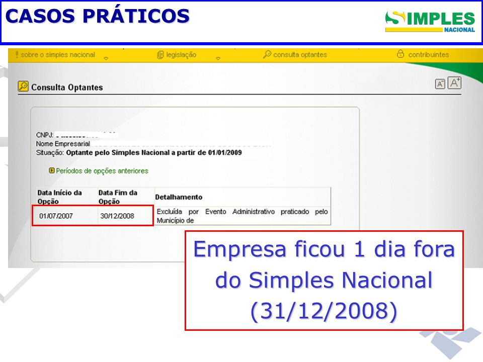 CASOS PRÁTICOS Empresa ficou 1 dia fora do Simples Nacional (31/12/2008)