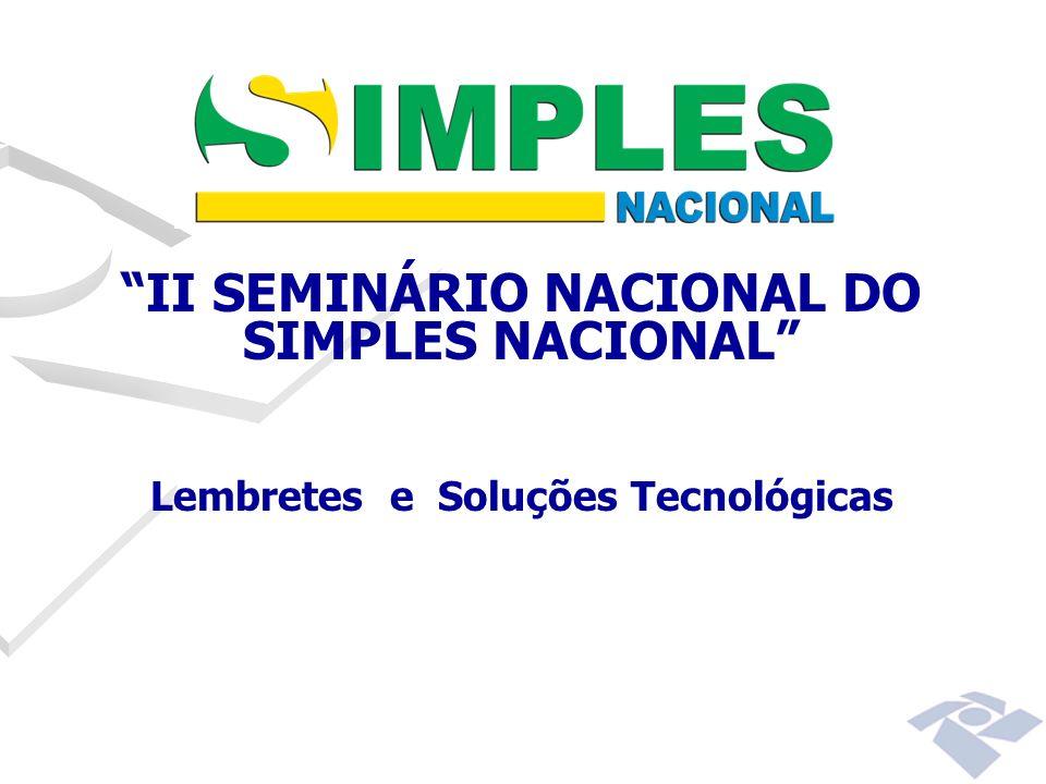 II SEMINÁRIO NACIONAL DO SIMPLES NACIONAL Lembretes e Soluções Tecnológicas