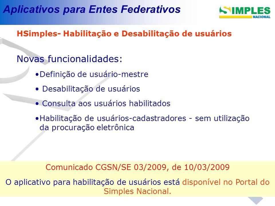 Aplicativos para Entes Federativos HSimples- Habilitação e Desabilitação de usuários Novas funcionalidades: Definição de usuário-mestre Desabilitação