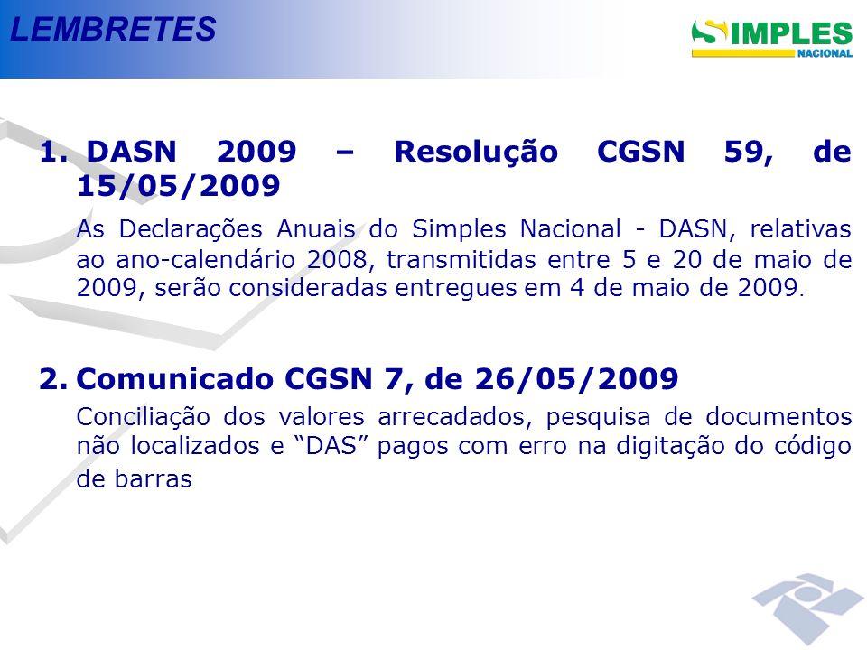 LEMBRETES 1. 1. DASN 2009 – Resolução CGSN 59, de 15/05/2009 As Declarações Anuais do Simples Nacional - DASN, relativas ao ano-calendário 2008, trans