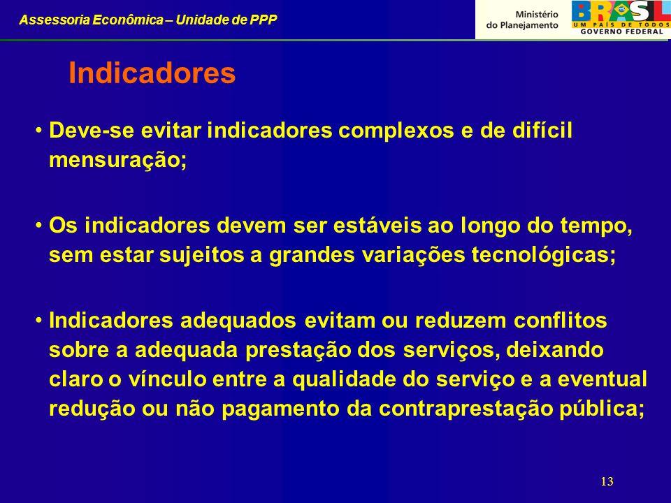 Assessoria Econômica – Unidade de PPP 13 Indicadores Deve-se evitar indicadores complexos e de difícil mensuração; Os indicadores devem ser estáveis a
