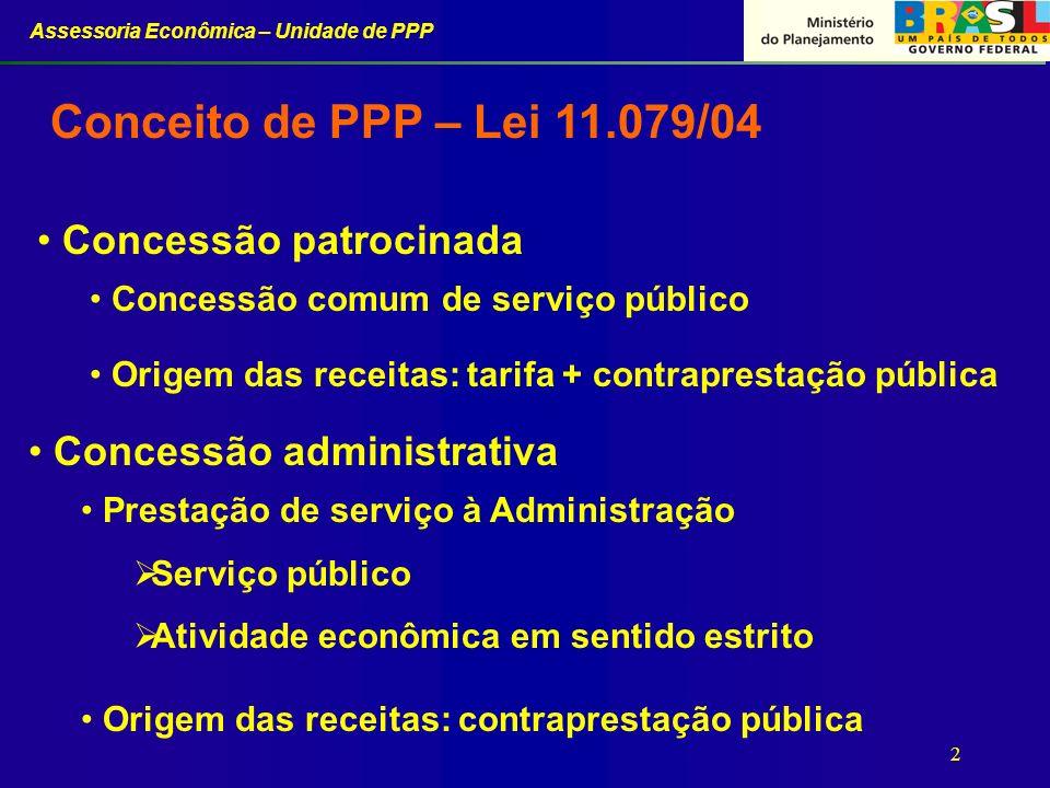Assessoria Econômica – Unidade de PPP 3 Envolvem a realização dos projetos, construção, financiamento, operação pelo setor privado e transferência dos bens, ao final do prazo do contrato, para o Poder Público.