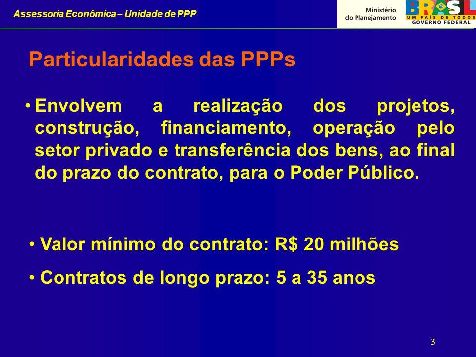 Assessoria Econômica – Unidade de PPP 3 Envolvem a realização dos projetos, construção, financiamento, operação pelo setor privado e transferência dos