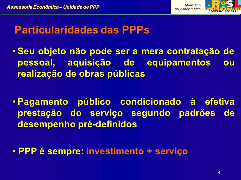 Assessoria Econômica – Unidade de PPP 4 Particularidades das PPPs PPP é sempre: investimento + serviço Seu objeto não pode ser a mera contratação de p