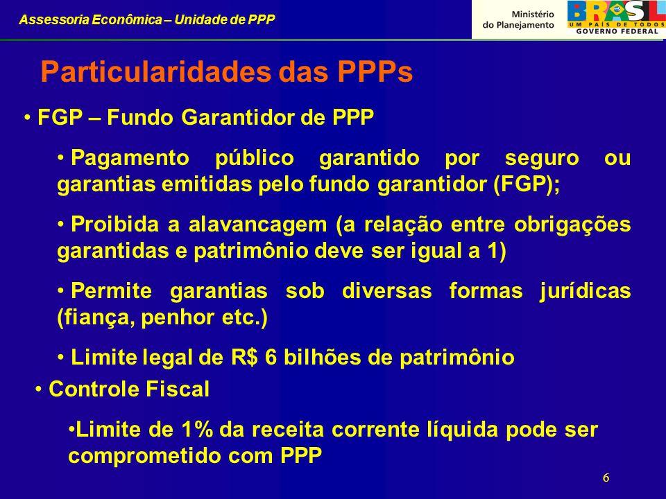 Assessoria Econômica – Unidade de PPP 6 FGP – Fundo Garantidor de PPP Pagamento público garantido por seguro ou garantias emitidas pelo fundo garantid