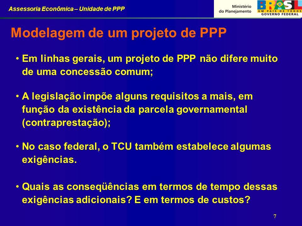Assessoria Econômica – Unidade de PPP 7 Modelagem de um projeto de PPP Em linhas gerais, um projeto de PPP não difere muito de uma concessão comum; A