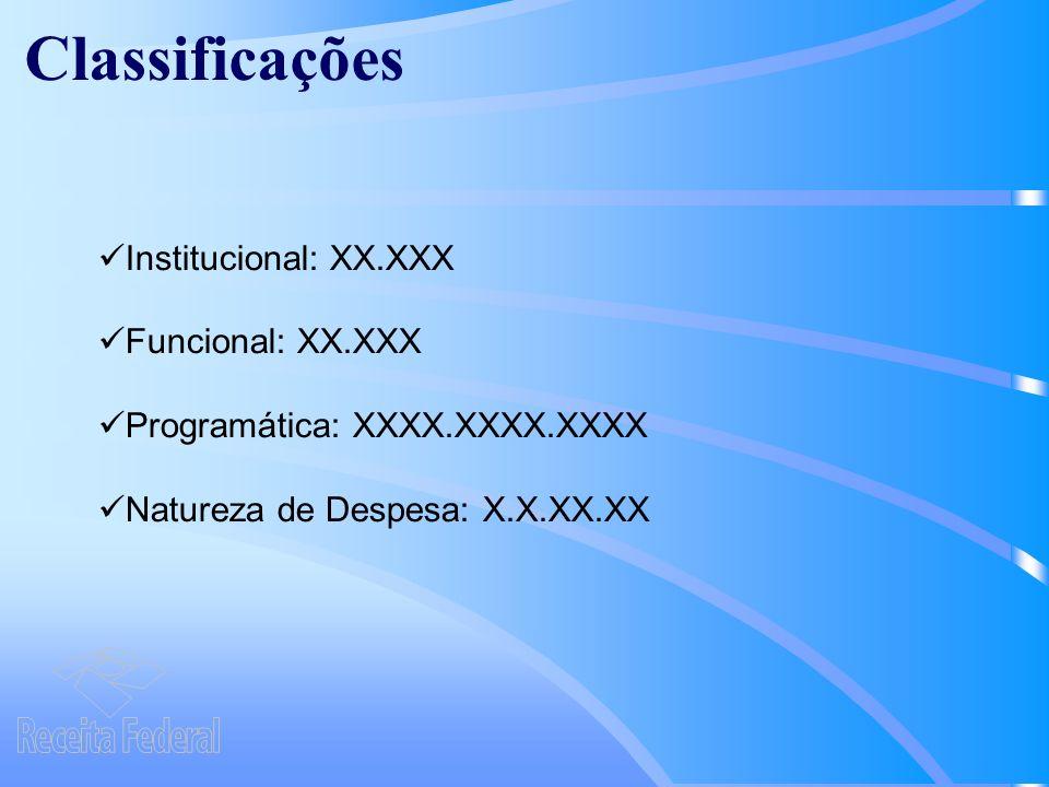 Classificações Institucional: XX.XXX Funcional: XX.XXX Program á tica: XXXX.XXXX.XXXX Natureza de Despesa: X.X.XX.XX