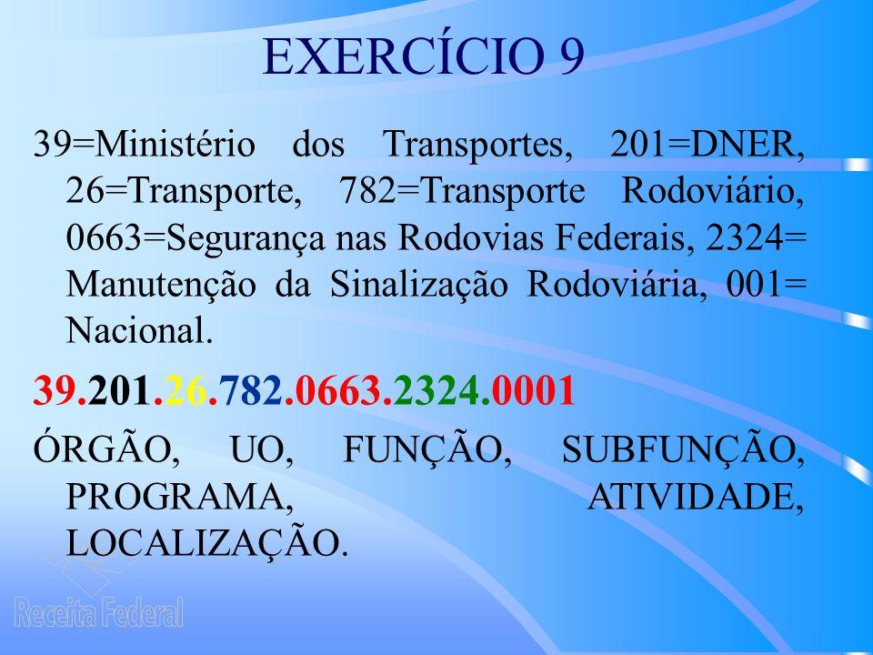 EXERCÍCIO 9 39=Ministério dos Transportes, 201=DNER, 26=Transporte, 782=Transporte Rodoviário, 0663=Segurança nas Rodovias Federais, 2324= Manutenção da Sinalização Rodoviária, 001= Nacional.