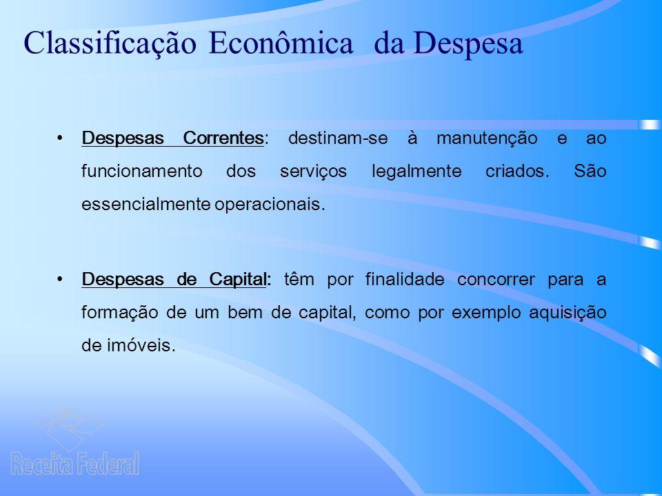 Classificação Econômica da Despesa Despesas Correntes: destinam-se à manutenção e ao funcionamento dos serviços legalmente criados.