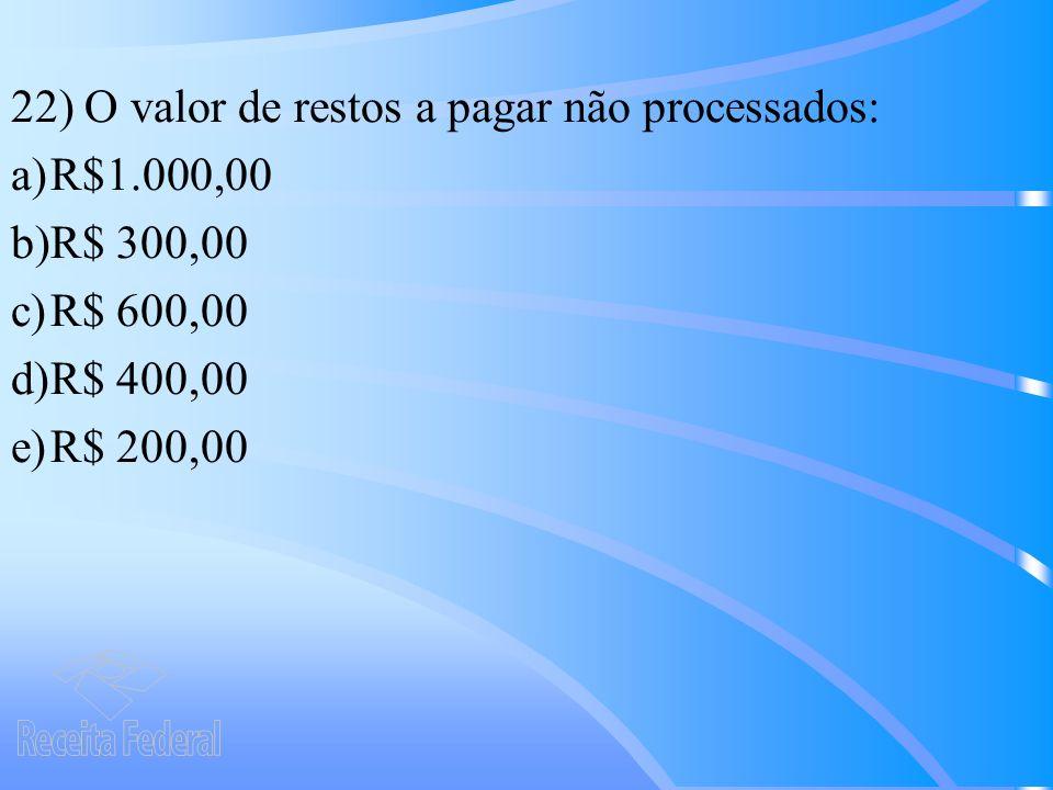 22) O valor de restos a pagar não processados: a)R$1.000,00 b)R$ 300,00 c)R$ 600,00 d)R$ 400,00 e)R$ 200,00