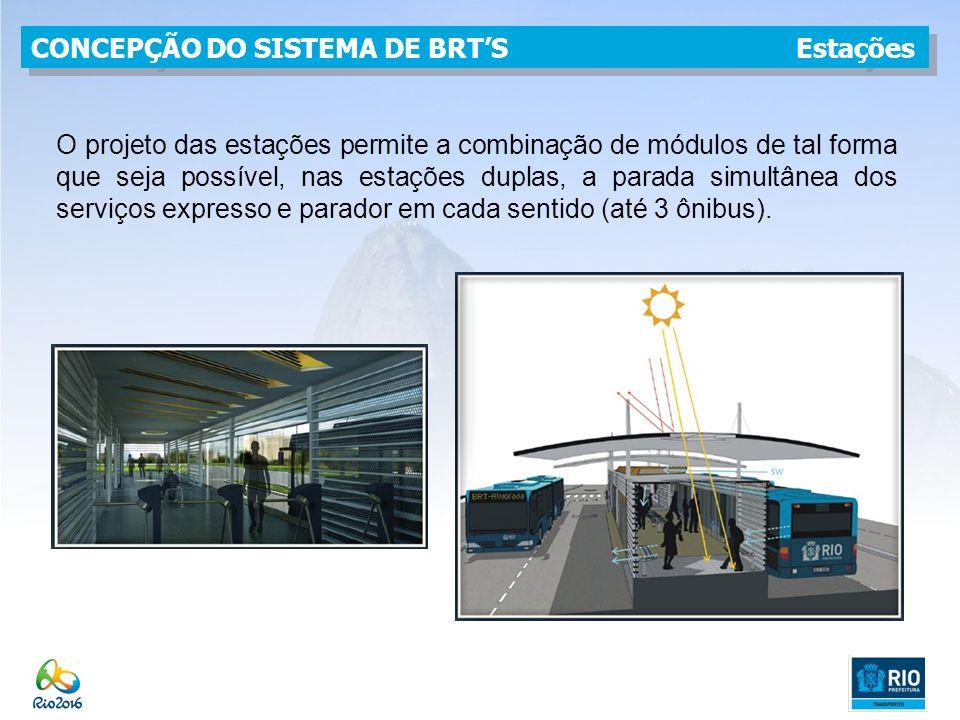 O projeto das estações permite a combinação de módulos de tal forma que seja possível, nas estações duplas, a parada simultânea dos serviços expresso e parador em cada sentido (até 3 ônibus).