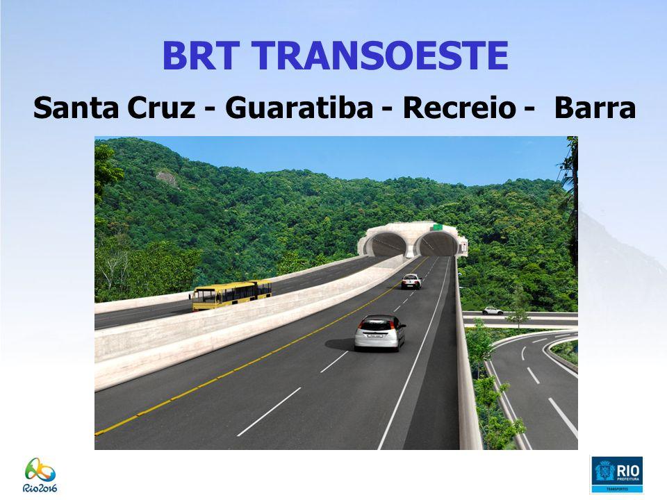 BRT TRANSOLÍMPICA Características Principais Extensão: 26 km 20 km eixo principal (via expressa/arterial e BRT) 3 km adicionais (BRT) 1,5 km de túnel por sentido 1,39 km pontes/ viadutos Via Exclusiva para Transporte Coletivo (BRT) Previsão de passageiros transportados: 95.000; Previsão de 16 estações e 2 terminais para o BRT 1 faixa com 3,5m de largura, por sentido, com ultrapassagem nas estações; Integração com o trem em Deodoro e com a rede de BRTs: Transcarioca, Transoeste e Transbrasil; Frota prevista para as linhas troncais: 86 ônibus articulados; Recursos da Prefeitura e da Concessão; Início: Janeiro/ 2012; Término previsto: Janeiro /2016;