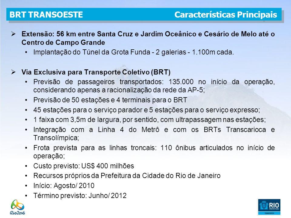 Extensão: 56 km entre Santa Cruz e Jardim Oceânico e Cesário de Melo até o Centro de Campo Grande Implantação do Túnel da Grota Funda - 2 galerias - 1.100m cada.