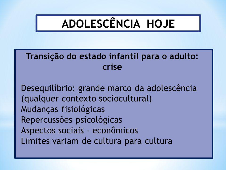 ADOLESCÊNCIA HOJE Transição do estado infantil para o adulto: crise Desequilíbrio: grande marco da adolescência (qualquer contexto sociocultural) Muda