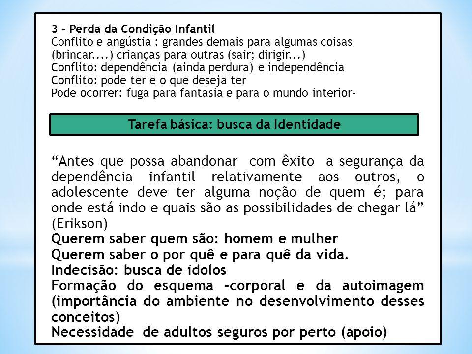 3 – Perda da Condição Infantil Conflito e angústia : grandes demais para algumas coisas (brincar....) crianças para outras (sair; dirigir...) Conflito