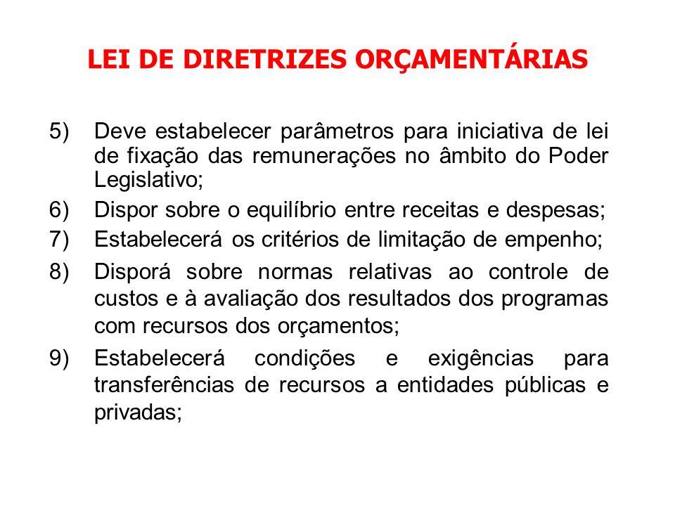 LEI DE DIRETRIZES ORÇAMENTÁRIAS 1)Compreenderá as metas e prioridades da administração pública, incluindo as despesas de capital; 2)Orientará a elabor