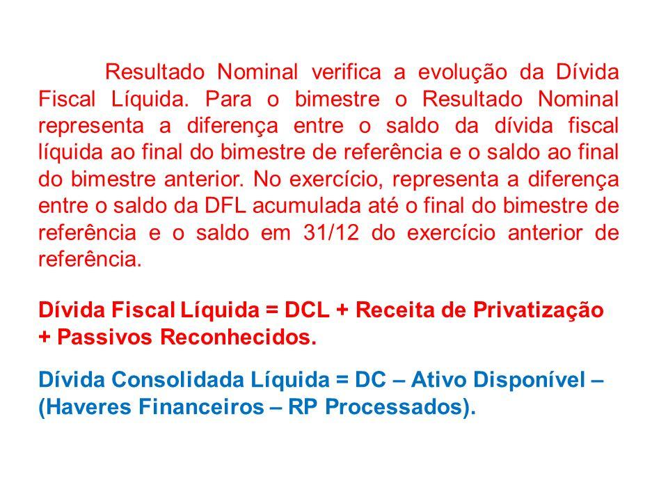 RESULTADO NOMINAL = (Resultado Primário) + (conta de juros nominais), onde: Conta de juros nominais = Recebimentos - pagamentos de juros decorrentes d