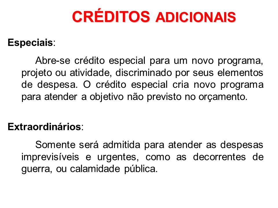 1.Suplementares; 2.Especiais; 3.Extraordinários CRÉDITOS ADICIONAIS Suplementares: Quando os créditos orçamentários, inclusive os Créditos Adicionais,