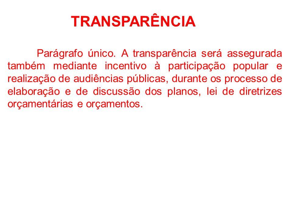 TRANSPARÊNCIA O Art. 48 assim dispõe: São instrumentos de transparência da gestão fiscal, aos quais será dada ampla divulgação, inclusive em meios ele