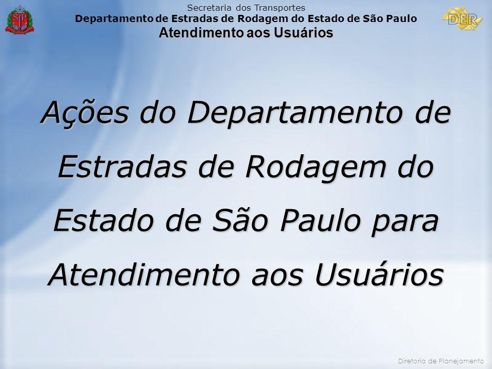 Secretaria dos Transportes Departamento de Estradas de Rodagem do Estado de São Paulo Atendimento aos Usuários Diretoria de Planejamento Ações do Depa