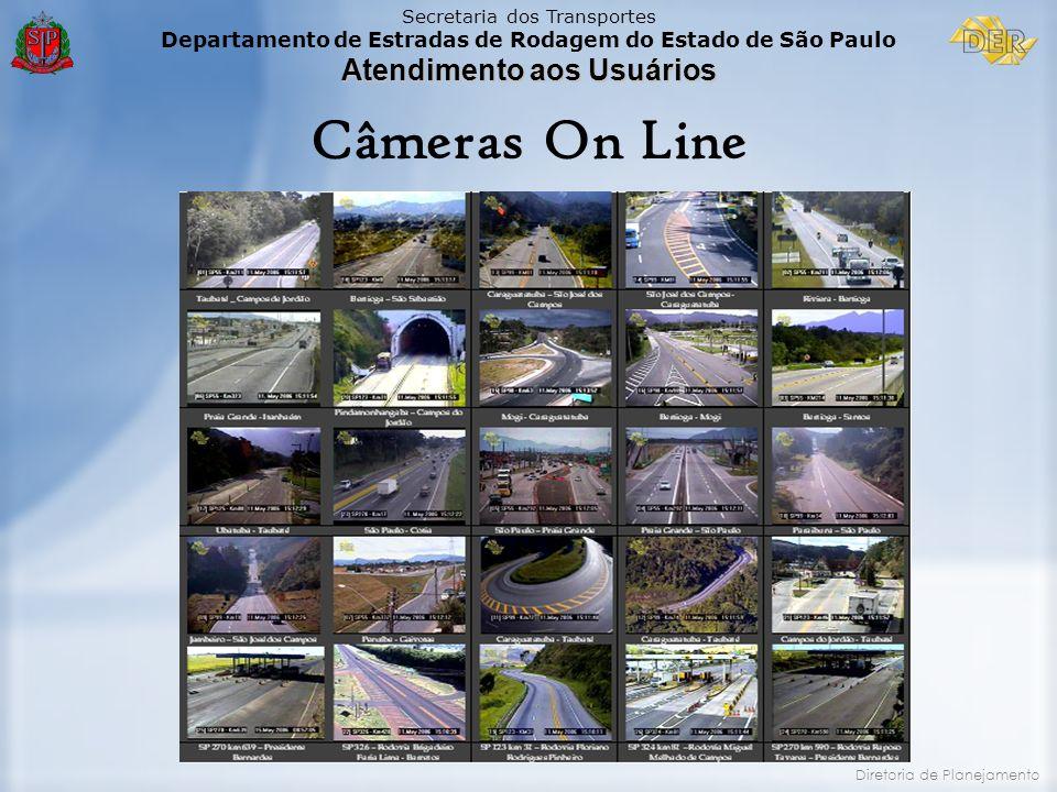Secretaria dos Transportes Departamento de Estradas de Rodagem do Estado de São Paulo Atendimento aos Usuários Diretoria de Planejamento Câmeras On Li