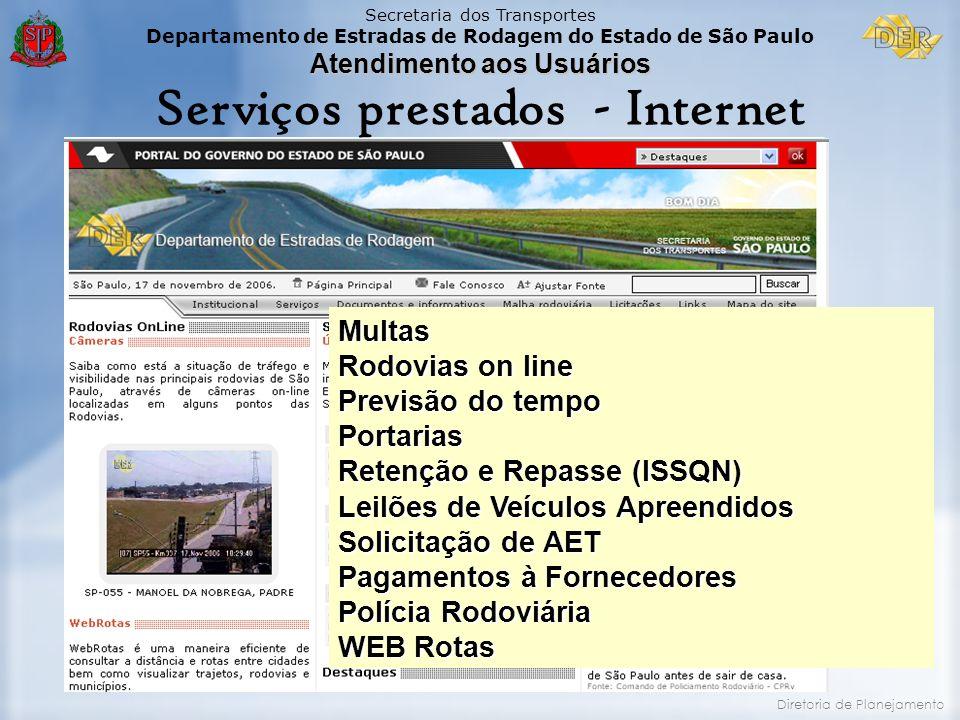 Secretaria dos Transportes Departamento de Estradas de Rodagem do Estado de São Paulo Atendimento aos Usuários Diretoria de Planejamento Serviços pres