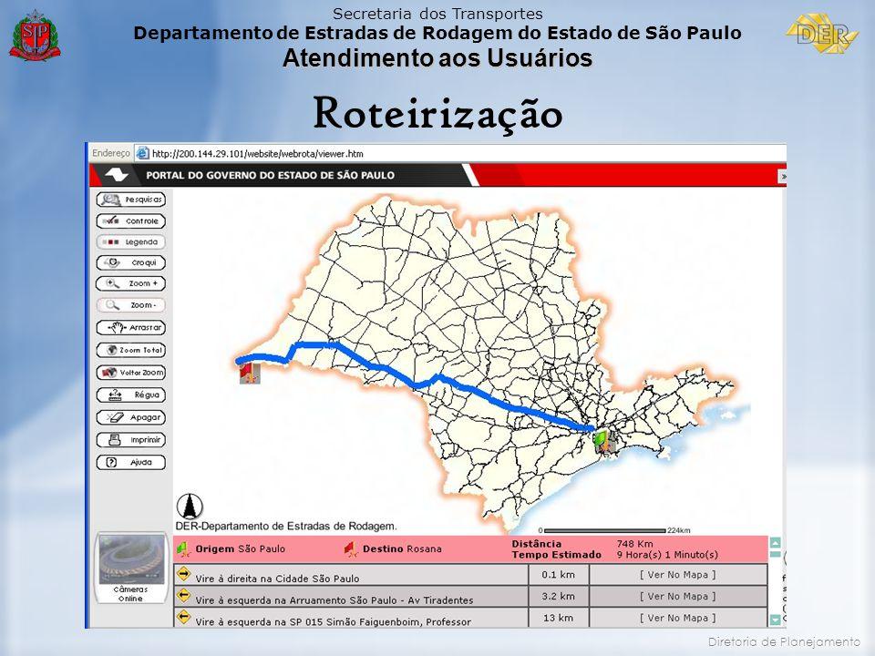Secretaria dos Transportes Departamento de Estradas de Rodagem do Estado de São Paulo Atendimento aos Usuários Diretoria de Planejamento Roteirização