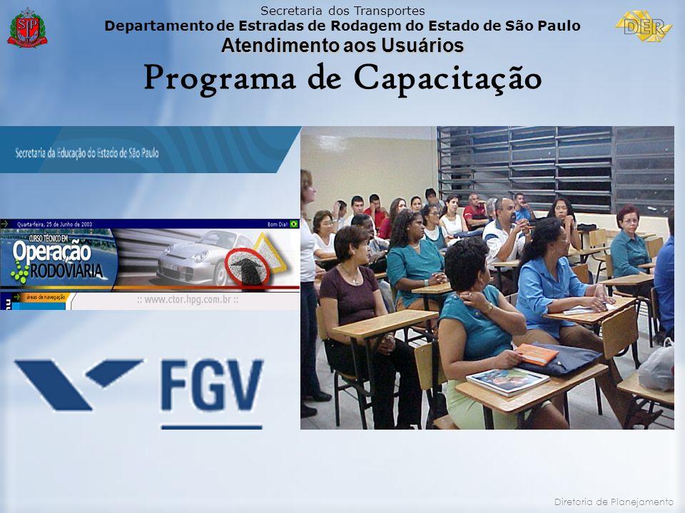 Secretaria dos Transportes Departamento de Estradas de Rodagem do Estado de São Paulo Atendimento aos Usuários Diretoria de Planejamento Programa de C