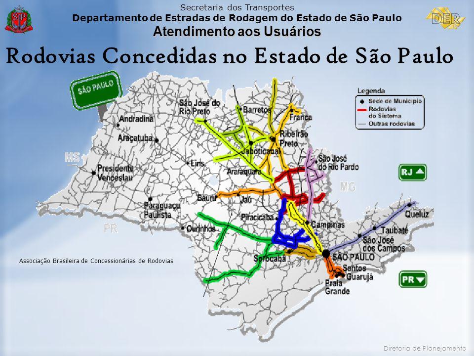 Secretaria dos Transportes Departamento de Estradas de Rodagem do Estado de São Paulo Atendimento aos Usuários Diretoria de Planejamento Associação Br